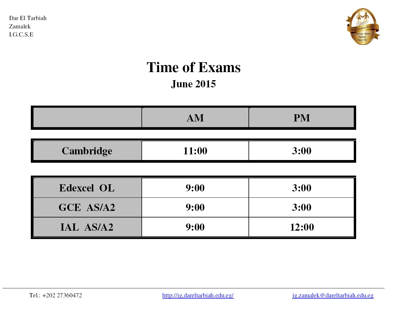 IG Zamalek - General Exam Timetable June 2015