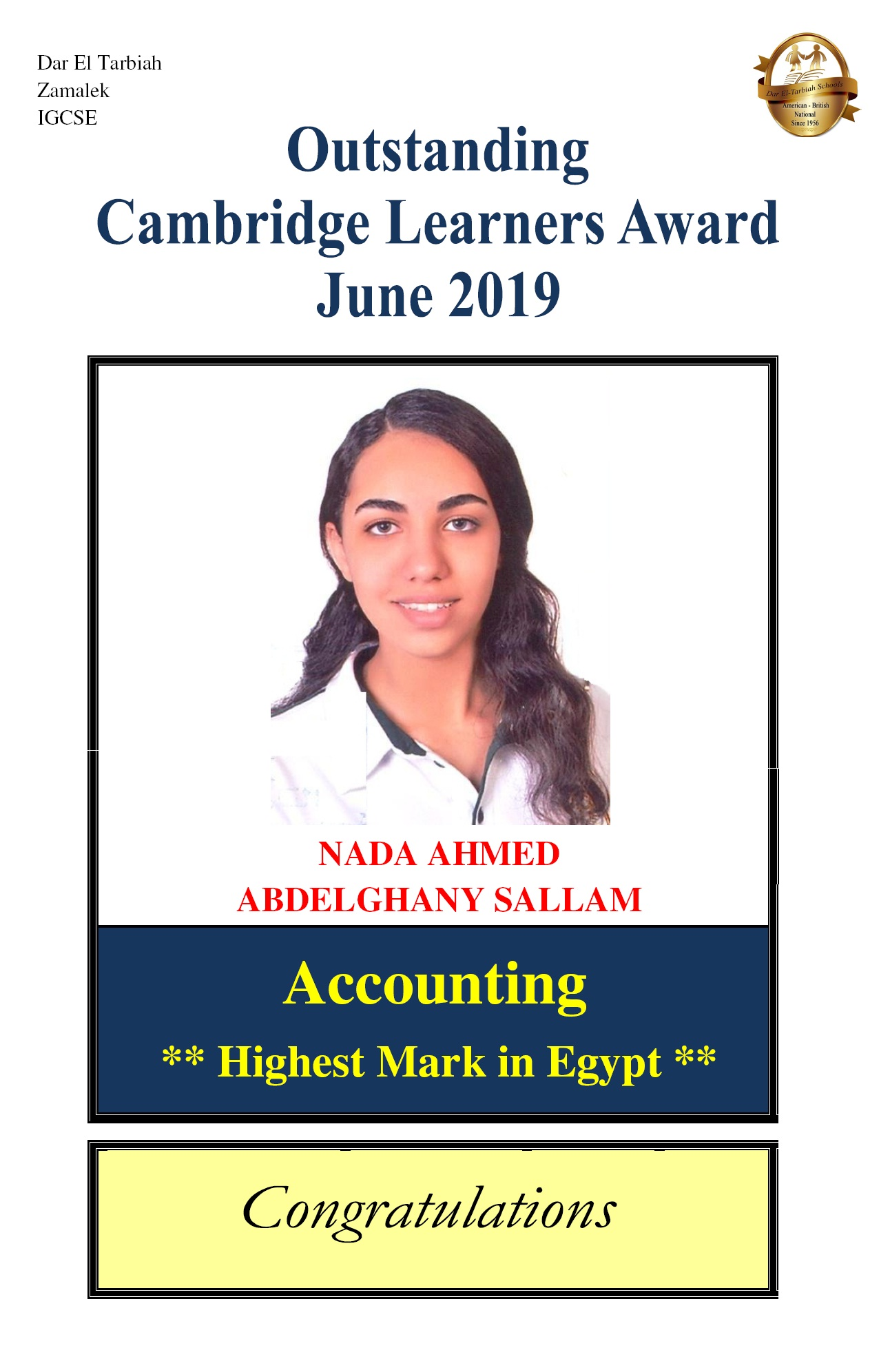 IG Zamalek - Cambridge High Achievers 2019