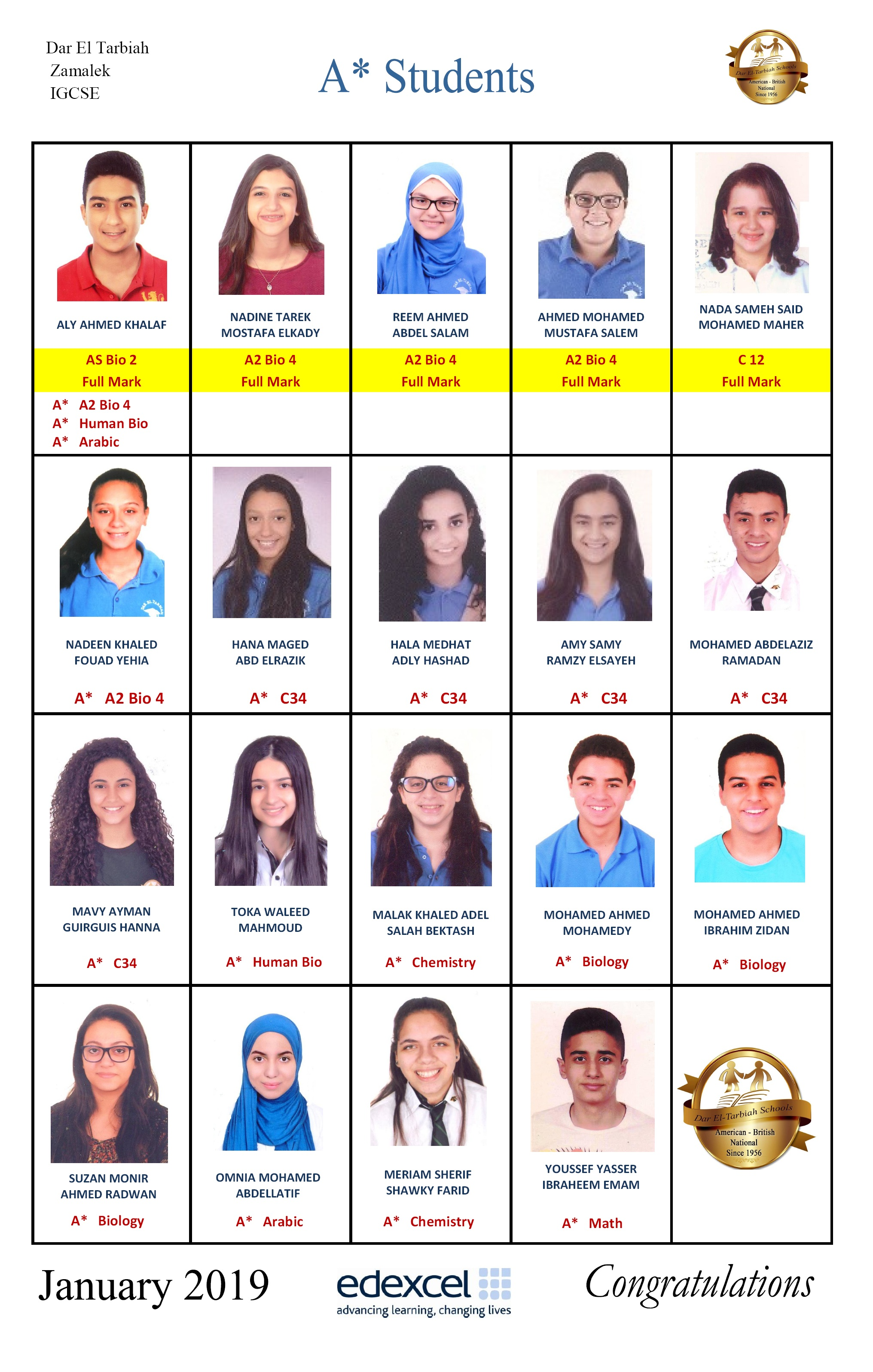 IG Zamalek : A* Students January 2019