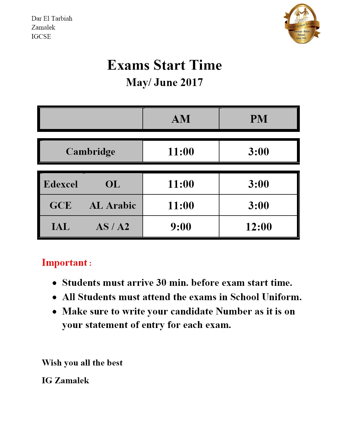 IG Zamalek - Exam Start Times June 2017