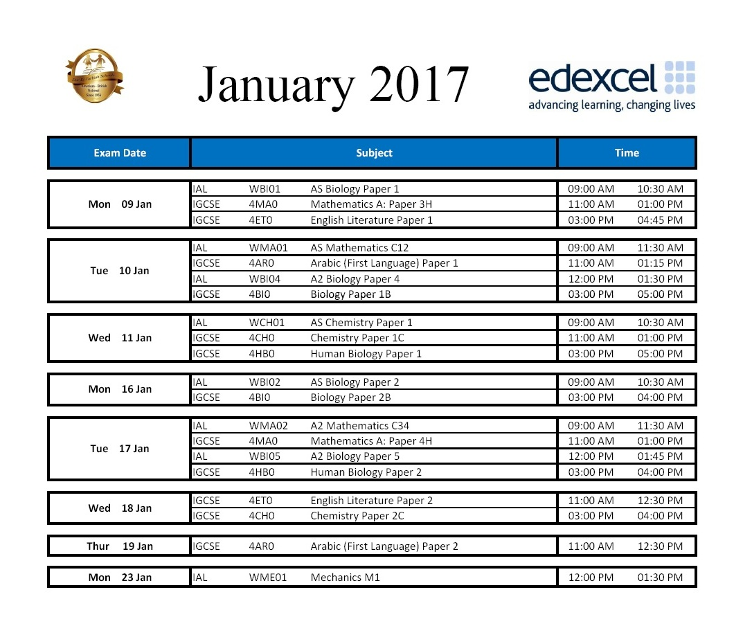 IG Zamalek - Jan 2017 Timetable