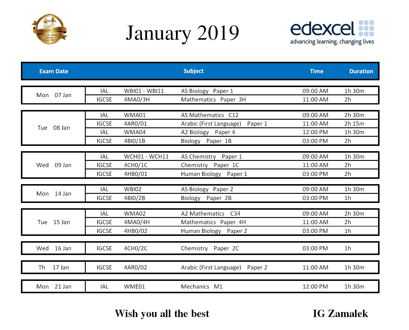 IG Zamalek : Jan 2019 Timetable