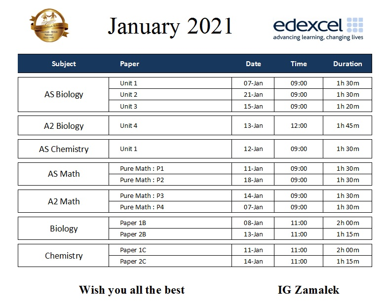 IG Zamalek - Jan 2021 Timetable