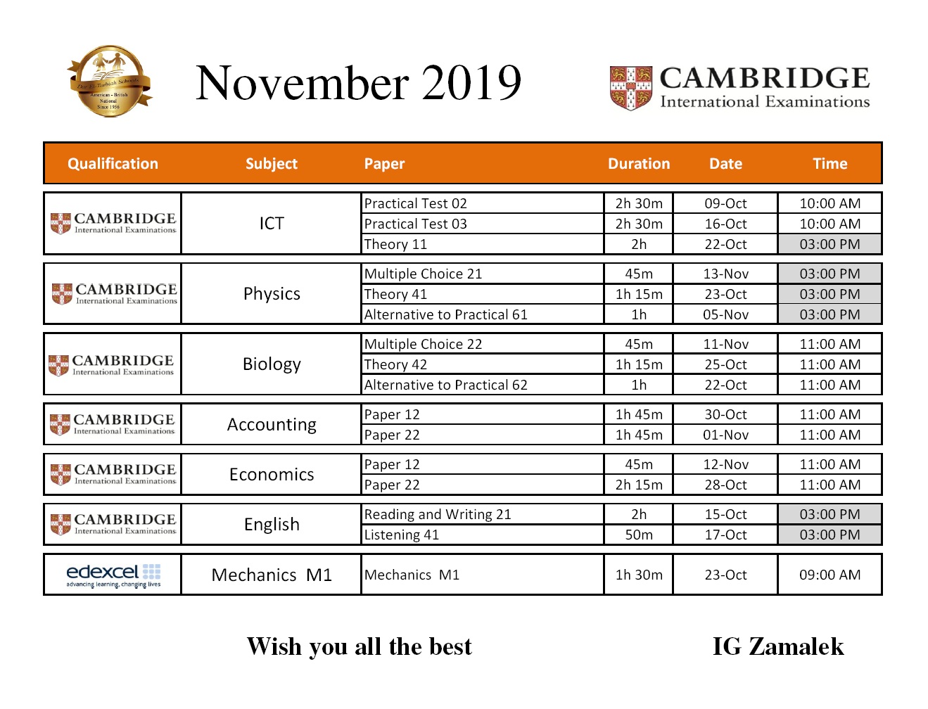 IG Zamalek - November 2019 Exams Timetable