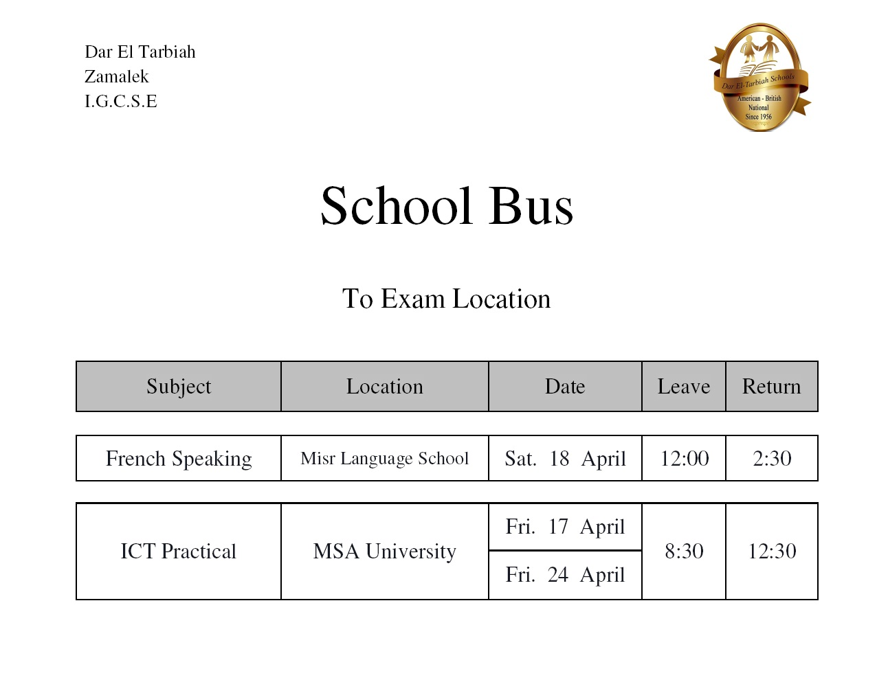 IG Zamalek - School Bus to Exam Location