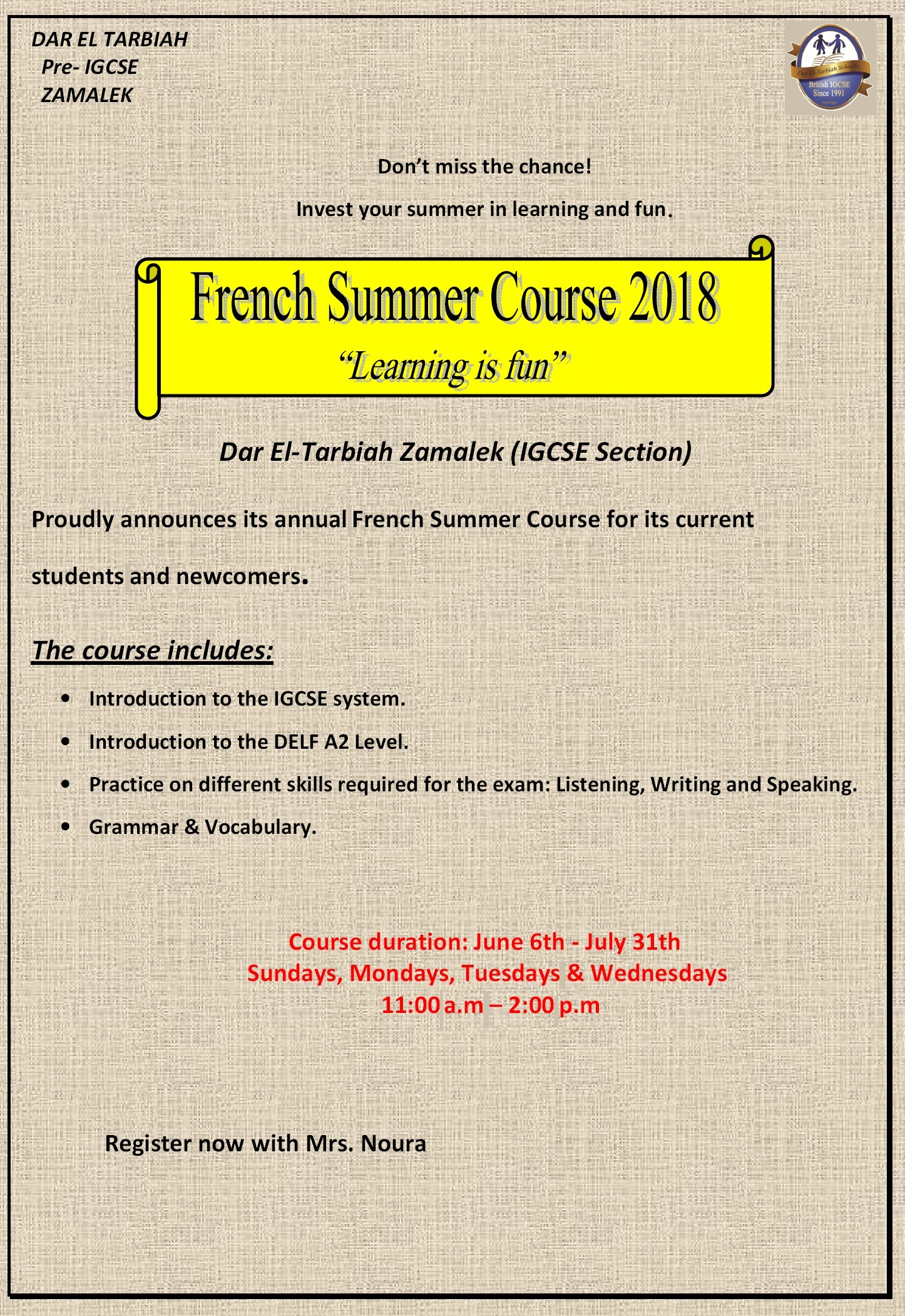 IG Zamalek : English & French Summer Courses