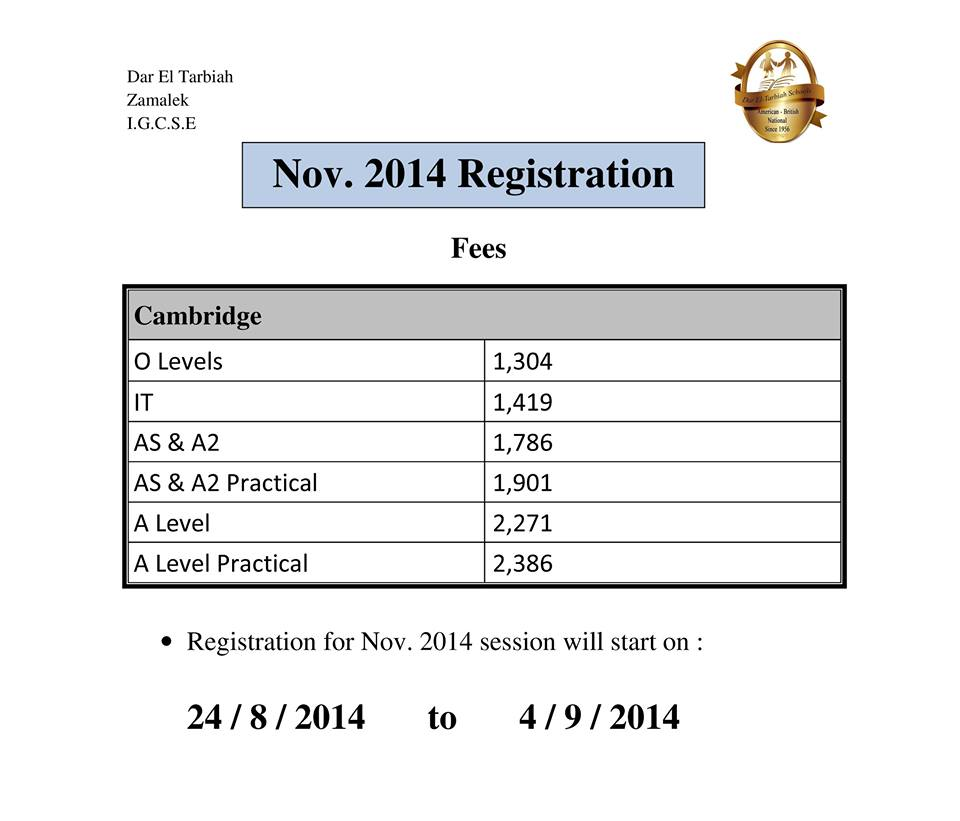 Nov. 2014 Registration Fees