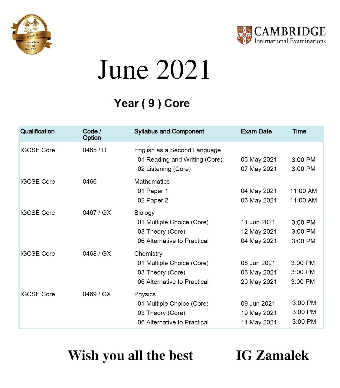 IG Zamalek - June 2021 Timetable